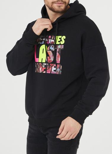 XHAN Siyah Baskılı Kapüşonlu Sweatshirt 1Kxe8-44394-02 Siyah
